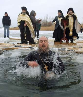 Russian Video: Epiphany. Holy Bath in Ice Water